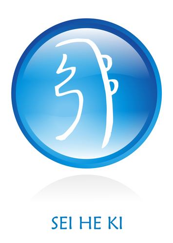 Reiki Symbol rounded with a blue circle. Vector file available.